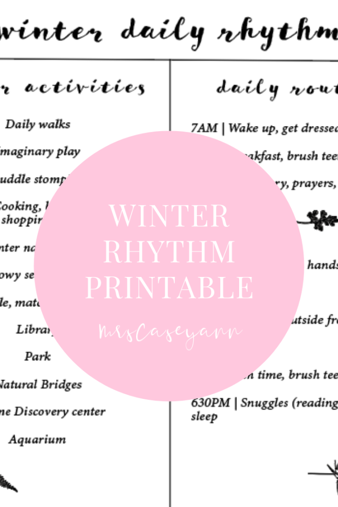 winter daily rhythm mrscaseyann