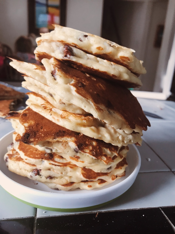 Best choclolate chip pancakes stack delicious